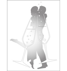 Champagne glass kiss vector