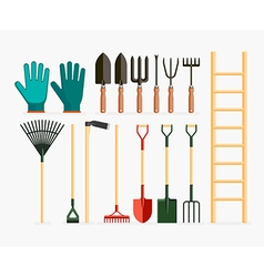 Set of garden tools and gardening items vector image