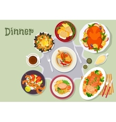 Christmas dinner icon for festive menu design vector