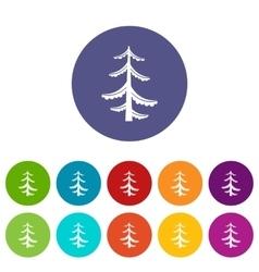 Pine set icons vector image