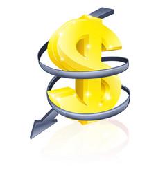 falling dollar vector image