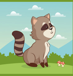 Cute raccoon animal baby with landscape vector
