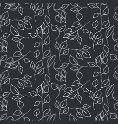 Hand drawn leaves seamless pattern vector