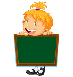 board template with happy girl vector image