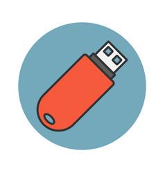 Flash drive flat line icon vector