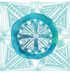 watercolor blue mandala with ornamental vector image