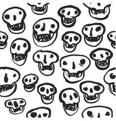 black on white skulls pattern vector image