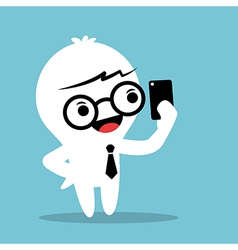 Cartoon Businessman holding smartphone and selfie vector image