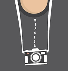 Hipster person with retro camera vector