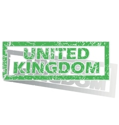 Green outlined united kingdom stamp vector