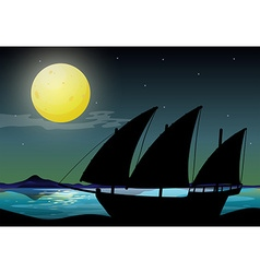 Silhouette sailboat at sea vector