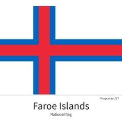 National flag of faroe islands with correct vector