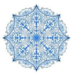 One ornate snowflake isolated vector