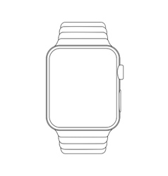 Outline drawing smartwatch elegant thin line vector