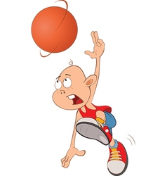 Cute little boy basketball player vector