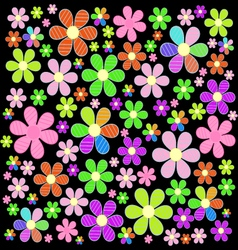 A fabulous field of colorful flowers on the vector