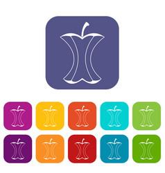 Apple stump icons set flat vector