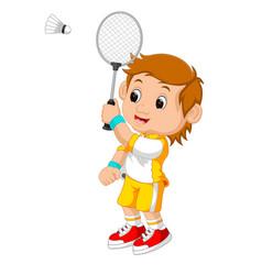 cartoon boy playing badminton vector image