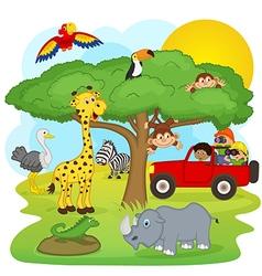 children on safari tour vector image vector image