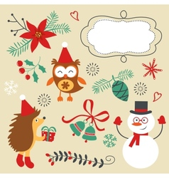 Christmas decorative elements and icons vector