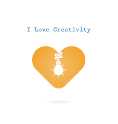 Creative light bulb and heart sign design banner vector
