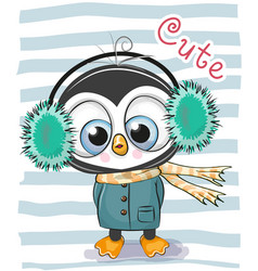 Cute cartoon penguin boy in a fur headphones vector