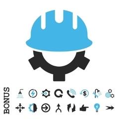 Development Helmet Flat Icon With Bonus vector image