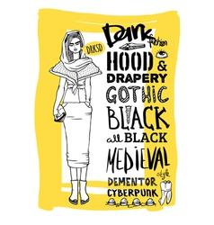 Doodle set dark fashion look vector image vector image