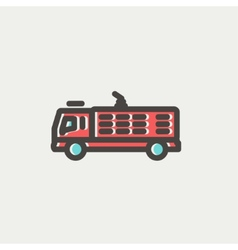 Fire truck thin line icon vector image