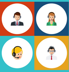 flat hotline set of call center secretary help vector image