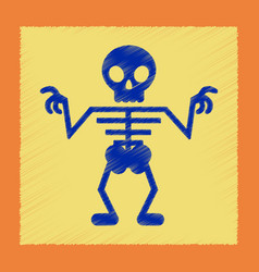 flat shading style icon halloween skeleton vector image