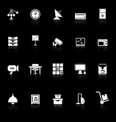 General office icons with reflect on black vector