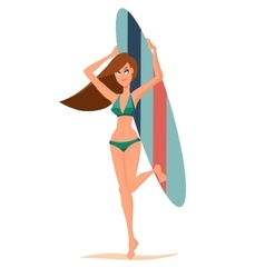 Girl holding surfing board vector image