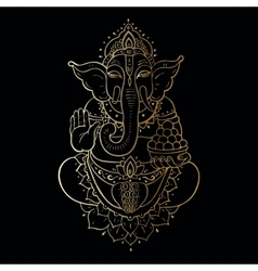 Golden Ganapati Meditation in lotus pose vector image vector image