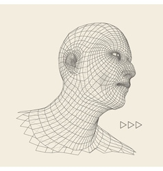Head of the person from a 3d grid geometric face vector