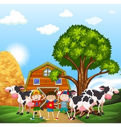 Kids and cows in the farmyard vector