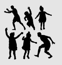 kids jumping sihouette vector image