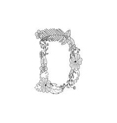 Letter d floral ornament vector