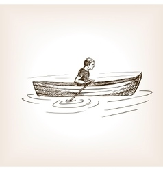 Man in boat sketch style vector