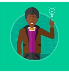 Man pointing at light bulb vector image vector image