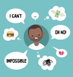 Modern communication concept unhappy black man vector