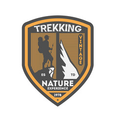 Nature trekking vintage isolated badge vector