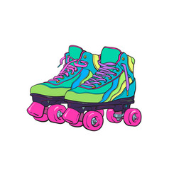 Pair of vintage retro quad roller skates sketch vector