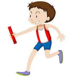 Runner running relay on white vector