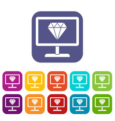 Screen with diamond icons set vector