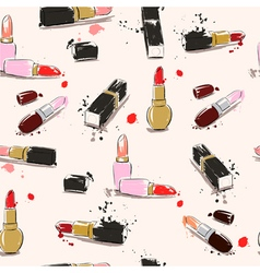 seamless pattern with lipstick vector image vector image
