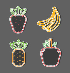 set delicious and fresh fruit food vector image
