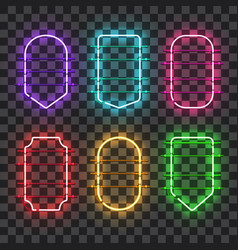 Set of realistic glowing neon frames vector