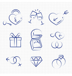 sketch style wedding line icons on notebook page vector image vector image