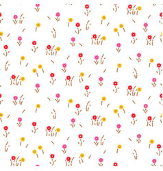 Small flowers line floral romantic pattern vector